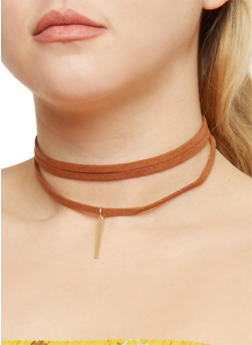 Faux Suede Choker with Metal Bar Charm - 3123067251074