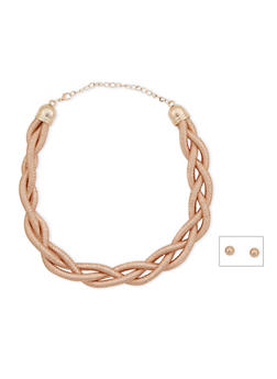Braided Necklace with Stud Earrings Set - 3123067251874