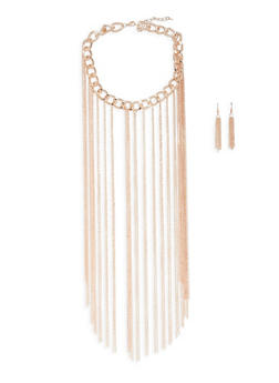 Metallic Fringe Chain Necklace and Drop Earrings Set - 3123067253292
