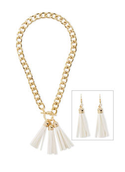 Tassel Curb Link Necklace and Fish Hook Earrings Set - 3123067256511