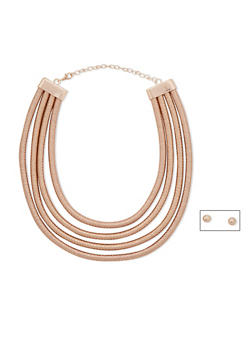 4 Row Cord Necklace with Stud Earrings Set - 3123067257066
