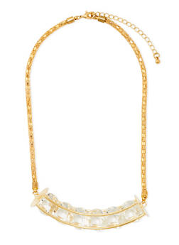 Collar Necklace with 6 Encased Crystals - 3123069754068