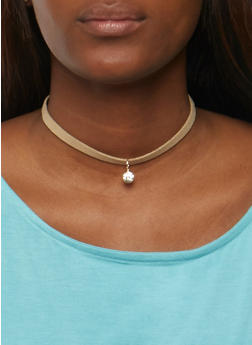 Set of 4 Assorted Chokers with Stud Earrings - 3123070430714