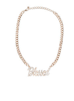 Blessed Rhinestone Chain Necklace - 3123070432323