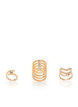 Set of 4 Assorted Rings with Rhinestones - 3123070437004