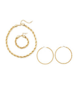 Rope Hoop Earrings and Bracelet with Necklace Set - 3123071435009