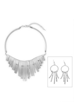 Metallic Fringe Collar Necklace and Earrings Set - 3123071435101