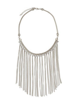 Rhinestone Chain Fringe Bib Necklace - 3123072370502