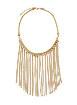 Rhinestone Chain Fringe Bib Necklace - 3123072370502