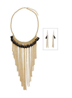 Multicolor Beaded Fringe Collar Necklace Set - 3123072370503