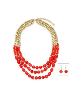Three Row Multicolor Beaded Necklace and Drop Earring Set - 3123072370508