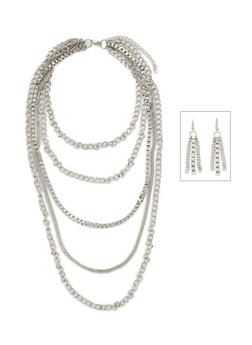 6 Row Multi Chain Link Necklace Set - 3123072370509