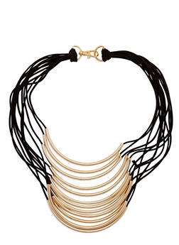 Tiered Metallic Tube Necklace - 3123072372149