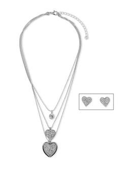 Rhinestone Encrusted Heart Charm Necklaces with Matching Stud Earrings - 3123072378157