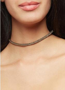 Multi Textured Chokers and Stud Earrings Set - 3123072378178