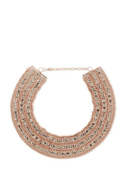Chainlink and Rhinestone Collar Necklace - 3123072379006