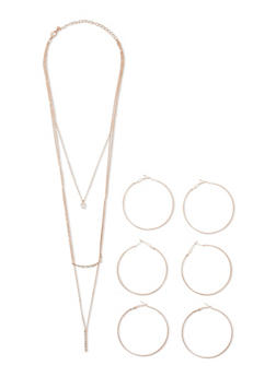 4 Piece Necklace and Hoop Earrings Set - 3123072694428