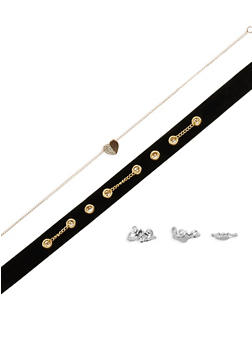 3 Piece Choker with Assorted Rings - 3123072694691