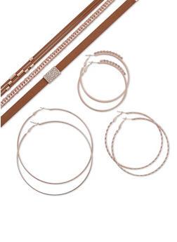 Set of 6 Assorted Chokers and Multi Textured Hoop Earrings - 3123072694709