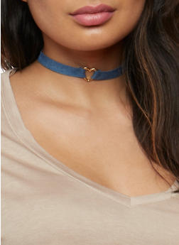 Set of 6 Assorted Chokers with Glitter and Textured Hoop Earrings - 3123072694711