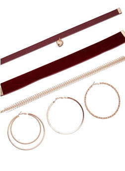 Triple Choker and Earring Set - 3123072694713