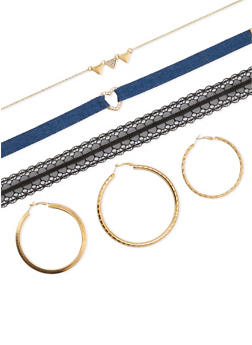 Triple Hoop Earring and Choker Set - 3123072694714