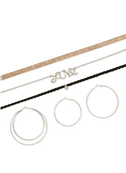Trio Choker and Hoop Earring Set - 3123072694715