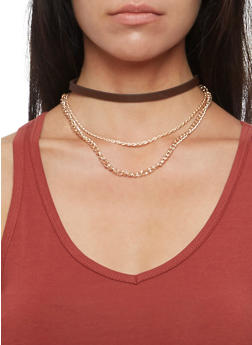 Faux Leather Choker with Set of 3 Hoop Earrings - 3123072695565
