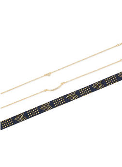 Studded Denim and Chain Choker Trio - 3123072696708