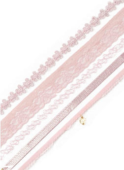 Pink Crochet and Lace Choker Set - 3123072696710