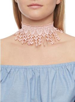 Crochet Fringe Choker and Rose Earrings Set - 3123072696893