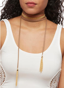 Faux Leather Chain Wrap Choker with Tassel Earrings - 3123072696898