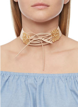 Faux Suede Lace Up Velvet Choker - 3123073802476