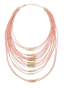 24 Row Cord Necklace with Metallic Tube Accent - 3123073802942