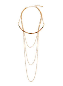 Tiered 4 Row Metallic Necklace - 3123073804978
