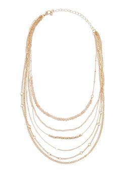Tiered 6 Row Metallic Necklace - 3123073805219