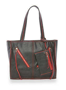 Faux Leather Contrast Trim Tote Bag - 3124040320097