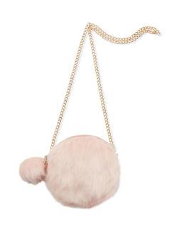 Round Faux Fur Pom Pom Crossbody Bag - 3124040320518