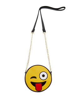Faux Leather Wink Face Emoji Crossbody Bag - 3124040320552