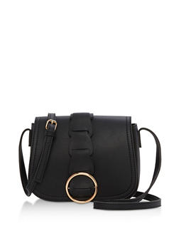 Faux Leather Mini Saddle Bag - 3124040320565