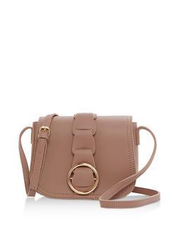 Faux Leather Mini Saddle Bag - 3124040320565