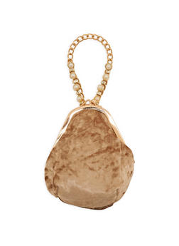 Crushed Velvet Kiss Lock Chain Wristlet - 3124040320581