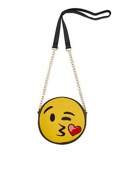 Faux Leather Kiss Face Emoji Crossbody Bag - 3124040320752