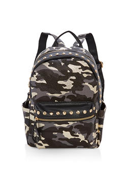 Studded Camo Print Backpack - 3124040320798
