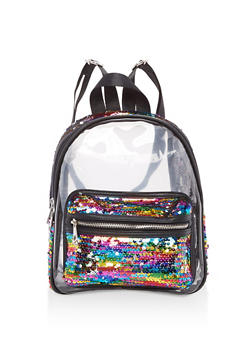 Rainbow Sequined Clear Backpack - 3124040320822