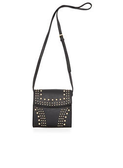 Studded Crossbody Bag in Faux Leather - 3124040321810