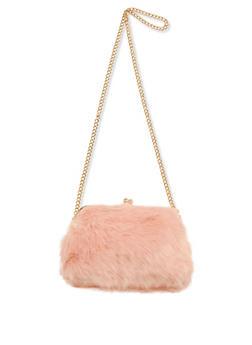 Faux Fur Kiss Lock Crossbody Bag - 3124040322050