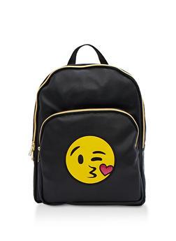Kiss Emoji Faux Leather Backpack - 3124040322277