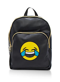 Laughing Emoji Faux Leather Backpack - 3124040322287