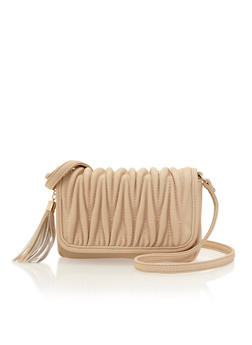 Faux Leather Crossbody Bag with Ruched Flap - 3124040322620